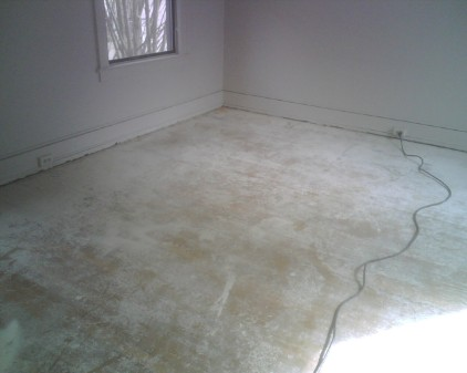 Flooring with sheetrock mud and paint